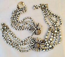 Vintage Signed Miriam Haskell Black Art Glass Pearl Necklace & Bracelet Set