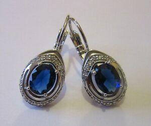Boucles d'oreilles Dormeuses Style Ancien Couleur Argent avec Pierres