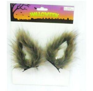 Clip On Halloween Brown Wolf Ears Costume Cute Fancy Dress Horror Cat Scary UK