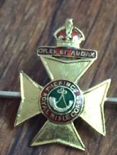 The kings royal rifle corps pin 9ct & 18ct enamel