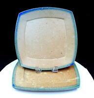 "ART POTTERY STONEWARE BLUE GREEN RIM TAN SPECKLED 2 PC 10 1/2"" DINNER PLATE SET"