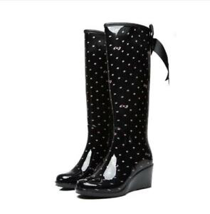 Womens Lace Up Wedge Rain Boots Waterproof Rubber Knee High Boots Outdoor Shoes