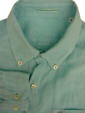 LACOSTE Shirt Mens 15 S Turquoise LINEN
