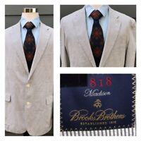 Brooks Brothers 1818 Madison Men White Gray Seersucker Sport Blazer Coat Size 44