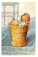 Kewpie Dolls Postcard Basket Rose O'Neill Drawing Vintage Unposted