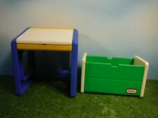 LITTLE TIKES  DOLL HOUSE SCHOOL DESK & TOY BOX CHEST