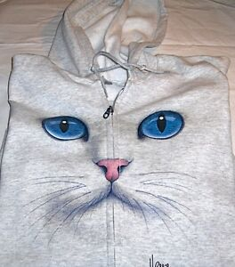 """Cat Face - Blue Eyes"" - Gildan (Ash Gray) Fleece Full Zip Hoodie Sweatshirt"