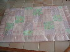 Handmade Lovely Squared Pastel Patterned Baby Cover & Pink Satin Blanket Binding