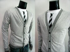 Men's Thin Knit Y Neck Button-Front Jumpers & Cardigans