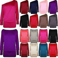WOMENS LONG SLEEVE OFF SHOULDER PLAIN LADIES BATWING TOP JUMPER TSHIRT SIZE 8-14