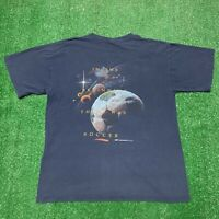 Vintage 90s Coed Sportswear Soccer Space Planets Single Stitch Shirt Large Blue