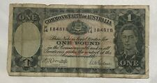 1942 COMMONWEALTH of AUSTRALIA  ONE POUND BANKNOTE WWII KING GEORGE VI