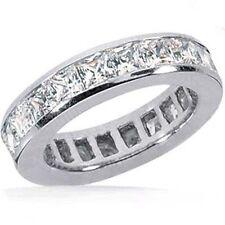 5.15 ct Princess cut Diamond Ring Platinum Eternity Band Channel set F-G, VS/SI1