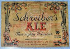 Antique Schreiber Brewing Ale Irtp Label. Buffalo Ny, Old & Original, Beer, 1934