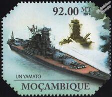WWII Imperial Japanese Navy YAMATO Battleship Warship Stamp (2011 Mozambique)
