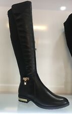 WOMENS LADIES FAUX LEATHER BLACK KNEE HIGH LOW HEEL CASUAL RIDERS BOOTS SIZE 5
