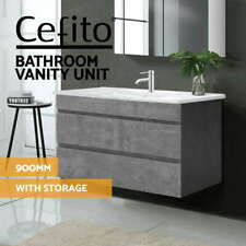 Cefito Bathroom Vanity Cabinet Basin Unit Sink Storage Wall Mounted Cement 900mm