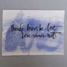 More details for mm066 dylan thomas inspired calligraphy blue mystery masterpieces art postcard
