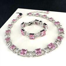 Newbridge Silverware Necklace and Bracelet Set Pink Stones Graduated Design 3Z
