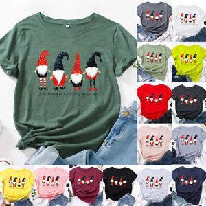 Womens Christmas Ladies Blouse Tee Loose Basic Printed T Shirt Xmas Party Tops