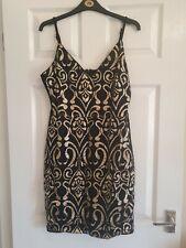 Quiz Short Black Dress with Gold Glitter Detail Size 14
