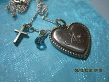 """Auth Tiffany & Co. Retired MOM Sterling Heart/18""""' chain"""