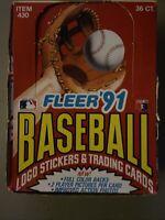 1991 Fleer Baseball Hobby Box (36 Packs) Factory Sealed