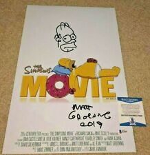 MATT GROENING SIGNED THE SIMPSONS MOVIE 12x18 POSTER PHOTO HOMER SKETCH DRAW BAS