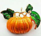 Happy Halloween PUMPKIN Orange FALL Autumn Thanksgiving Enamel Retro Brooch