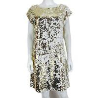 Dorothy Perkins UK 14 White / Gold Sequin Party Dress Short Sleeve