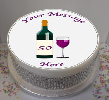 "Novelty Personalised Wine Bottle & Glass 7.5"" Edible Icing Cake Topper birthday"