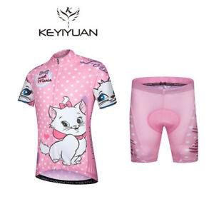 Girls' Cycling Short Kit Pink Bike Jersey Padded Shorts Children's Cycling Wear