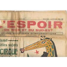 L'ESPOIR de NICE 16-2-1953 Caricature de GARCIN MISTRAL SIGNORET VERNOUX AILLAUD