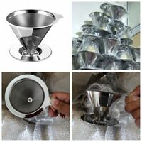 Pour Over Cone Dripper Reusable Coffee Filter Cup Stand Stainless Steel