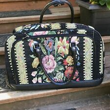 Hand Beaded Black Vintage Floral Tapestry Tote/ Duffel Roller Carry-On Bag!!!