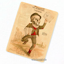 Antikamnia 1899 Calendar #1 Deco Magnet, Antique Illustration Skeleton Fridge