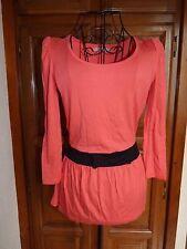 3 SUISSES T-shirt 34/36 orange corail nœud noir haut blouse tunique top