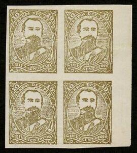 Peru 1885 Sc# 3N26a - 10c Block of 4 Pacific War Provisionals Bolognesi Mint MNH