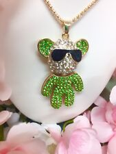 Irish Green-Clear Crystals Teddy Bear Necklace Betsey Johnson Bears Sunglasses