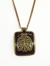 Brass & Gold Brown Enamel Ladybug Pendant Necklace India 1960s Vintage Insect