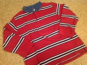 Cherokee Boys Size Large Burgundy Striped Cotton Rugby Style Shirt Gently Worn