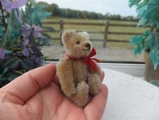 "Vintage Miniature STEIFF TEDDY BEAR 3.5"" Mohair Toy  Glass Eyes  Wood Straw Fill"