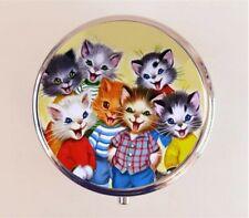 Cat Kitten Pill Box Pillbox Case Retro 1950's Cartoon Kitsch Stash Box