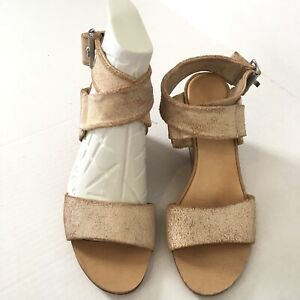 Rag & Bone Women's 37 Heel Shoe DAMIEN Crackle Leather Wedge Sandal Rose Gold