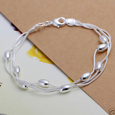 UK New Ladies Beautiful Shiny Sterling Silver Beads Chain Gift Bracelet (120)