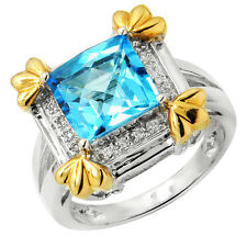 14K WHITE YELLOW TWO TONE GOLD PAVE DIAMOND BLUE TOPAZ COCKTAIL ENGAGEMENT RING