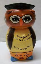 Wise Owl of Proverbs Piggy Bank Graduation Cap Tassel Four Sided Vintage Japan