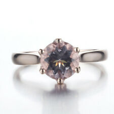 CAPTIVATING GENUINE MORGANITE&DIAMOND ENGAGEMENT WEDDING FINE 14K ROSE GOLD RING