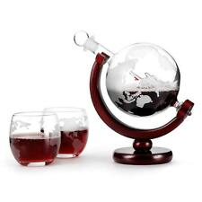 Globe Wine Decanter Whiskey Sailing Sailboat Bottle Glass World Map Drink Cooler