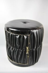 Stool pouffe storage foot stool with storage Black PVC Gathering design